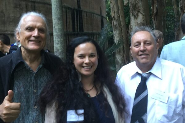 Bernd Seidl, Ciara Bridgland and nominee Tim Brown at the Cassowary Awards