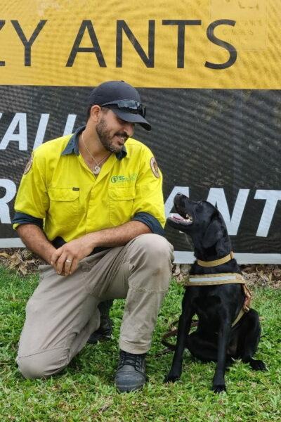 Dog handler Israel Hajbi and Luna the odour detection dog