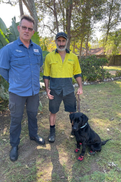 Dog handler Stuart Biggs & dog trainer Craig Murray with Pretzel  Photo credit - Craig A. Murray Dog Training